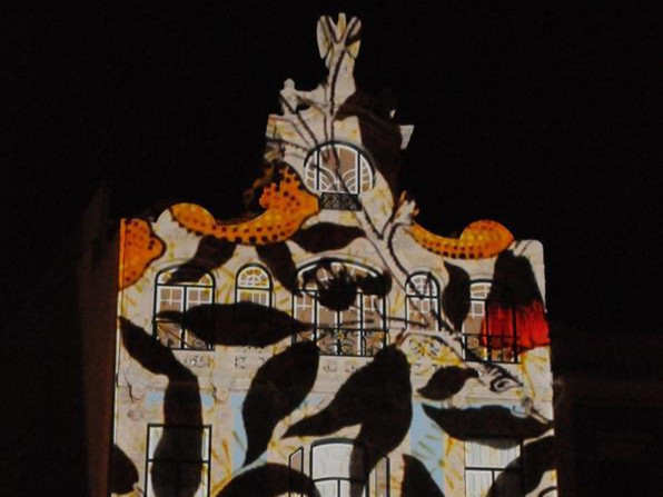 Light show projected on Art Nouveau Museum in Aveiro, Portugal