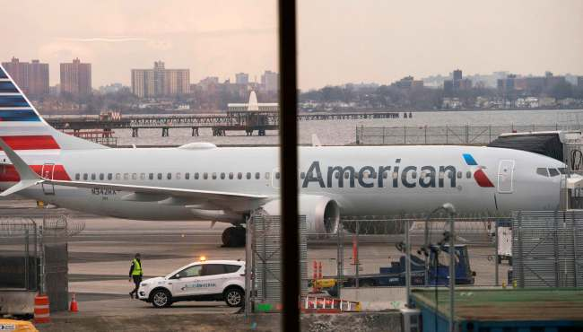 In this file photo taken on March 13, 2019, an American Airlines 737 Max sits at the gate at LaGuardia airport in New York. [Photo: AFP/Don Emmert]