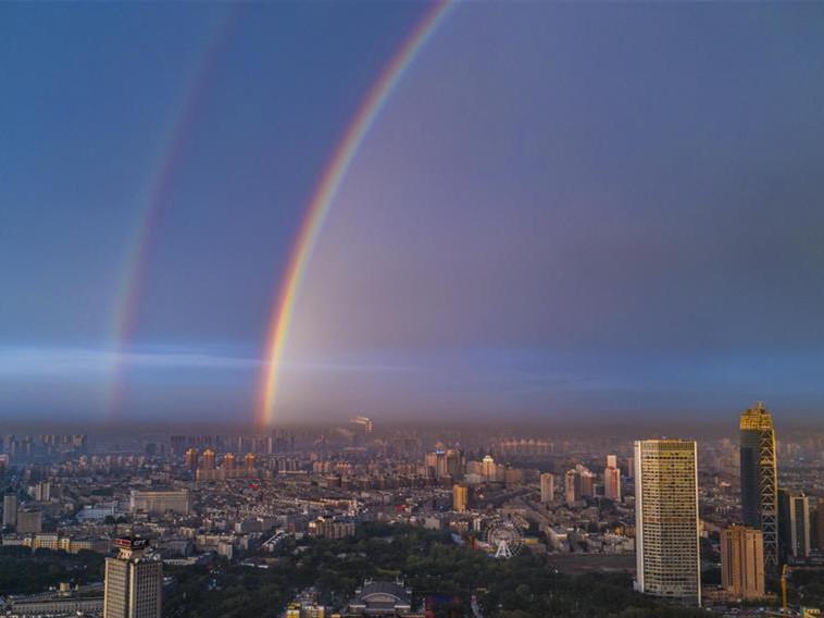 Double rainbow brightens sky over Changchun, NE China