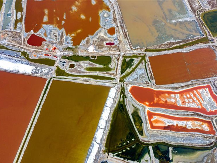 Aerial view of salt lake in Yuncheng City, China's Shanxi