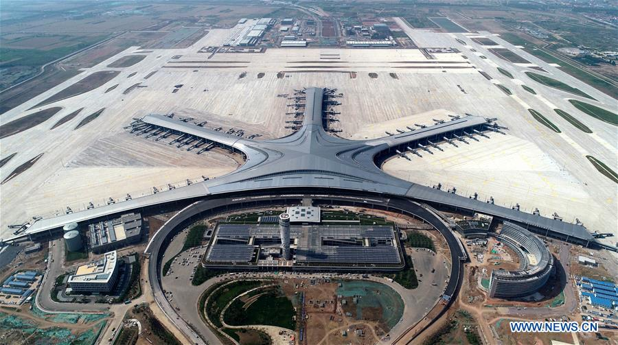 Qingdao Jiaodong Int'l Airport under construction in China's Shandong