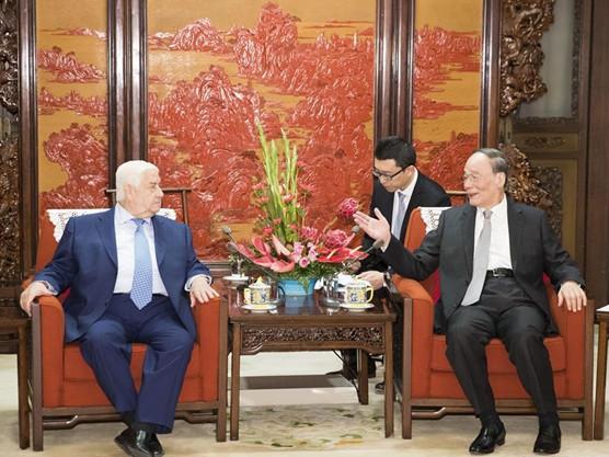 Wang Qishan meets Syrian deputy prime minister