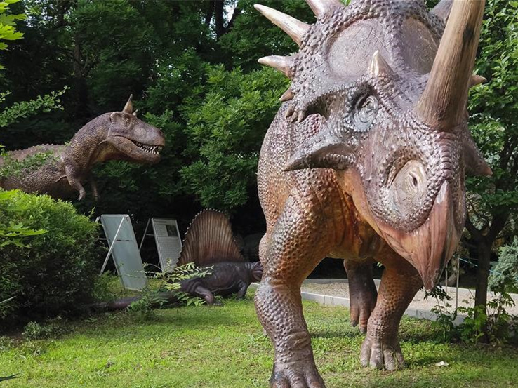 Dinosaur sculptures displayed in Budapest, Hungary