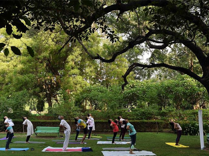 People celebrate Int'l Yoga Day in India