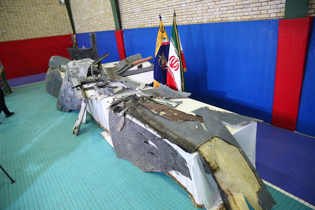 Iran shows images of US drone wreckage