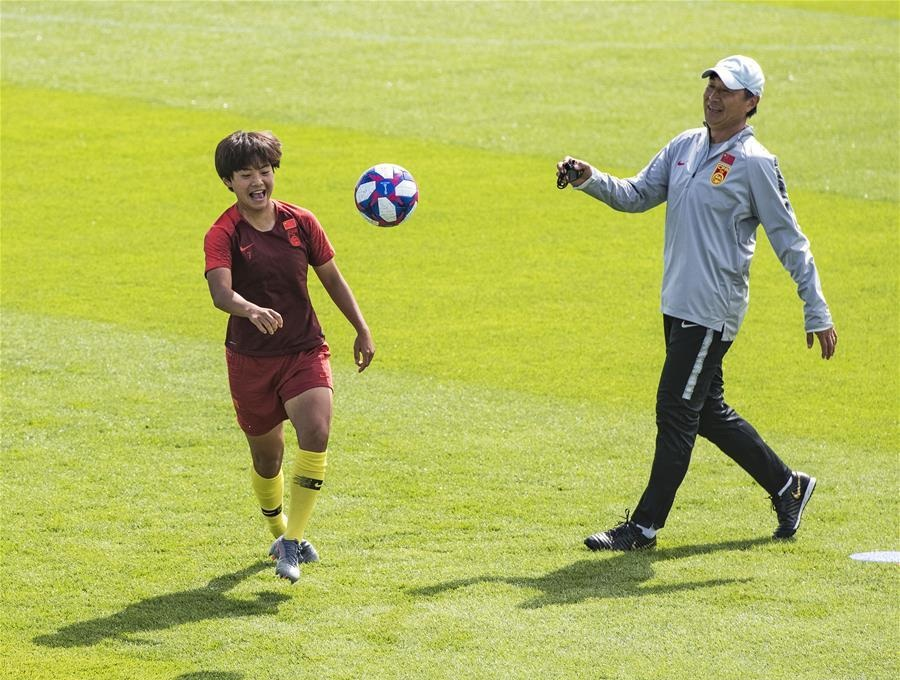 China's players attend training session ahead of match against Italy at FIFA Women's World Cup
