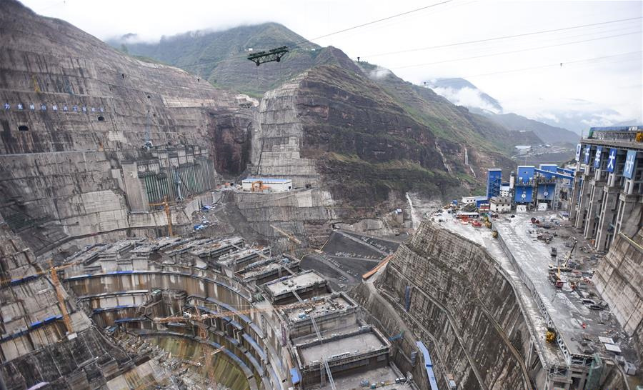 In pics: construction site of Baihetan hydropower project in SW China's Sichuan