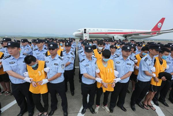 63 telecom fraud suspects brought back to China from Cambodia
