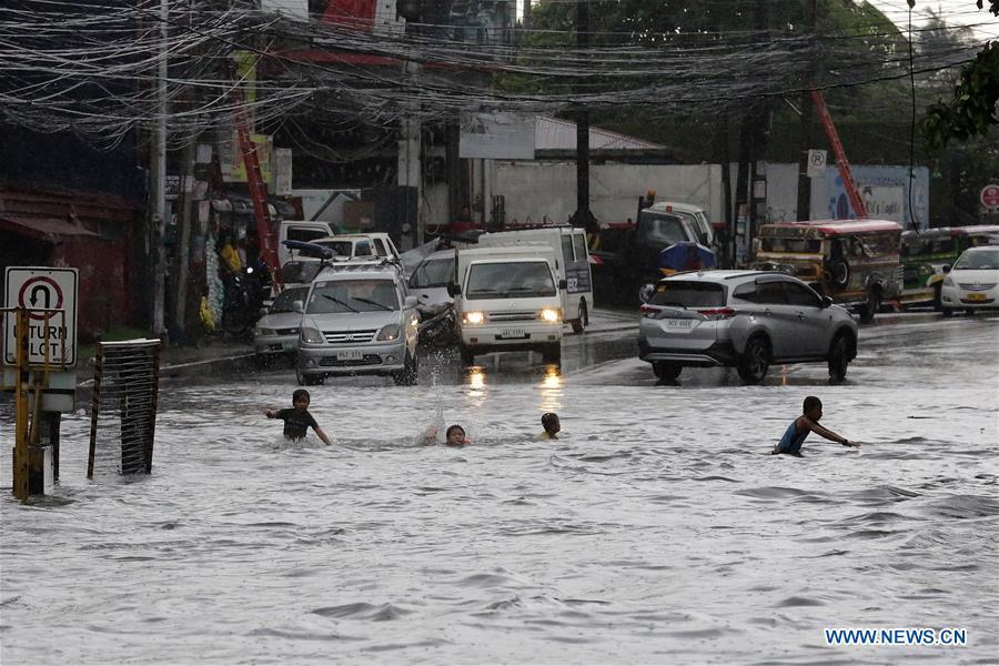 Heavy rain causes flood in Quezon City, the Philippines