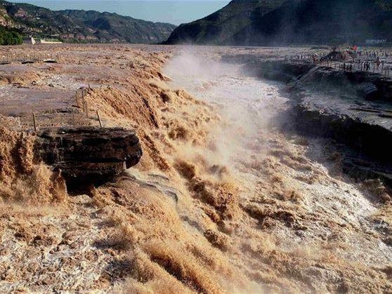 Aerial view of Hukou Waterfall in its flood period