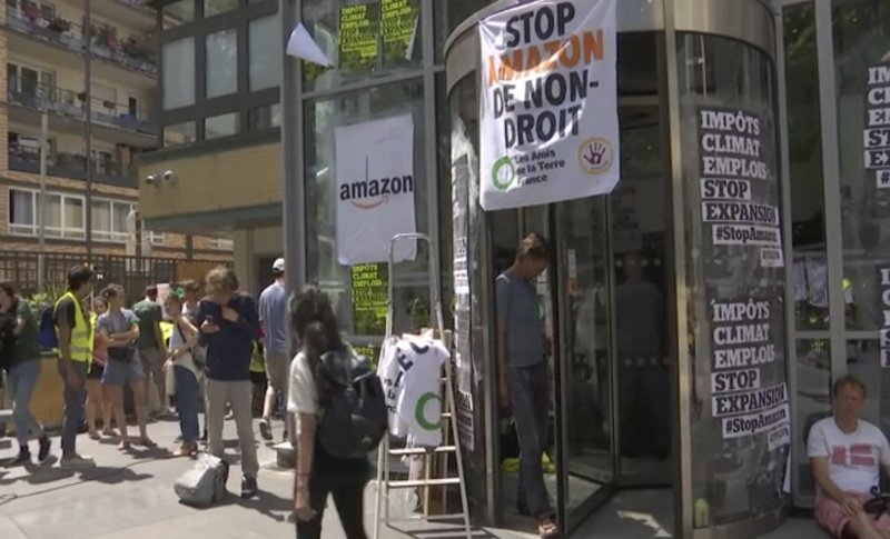 French protesters block Amazon sites over climate, jobs
