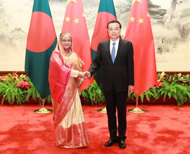 Chinese Premier Li Keqiang meets with visiting Bangladeshi Prime Minister Sheikh Hasina in Beijing on Thursday, July 4, 2019. [Photo: gov.cn]