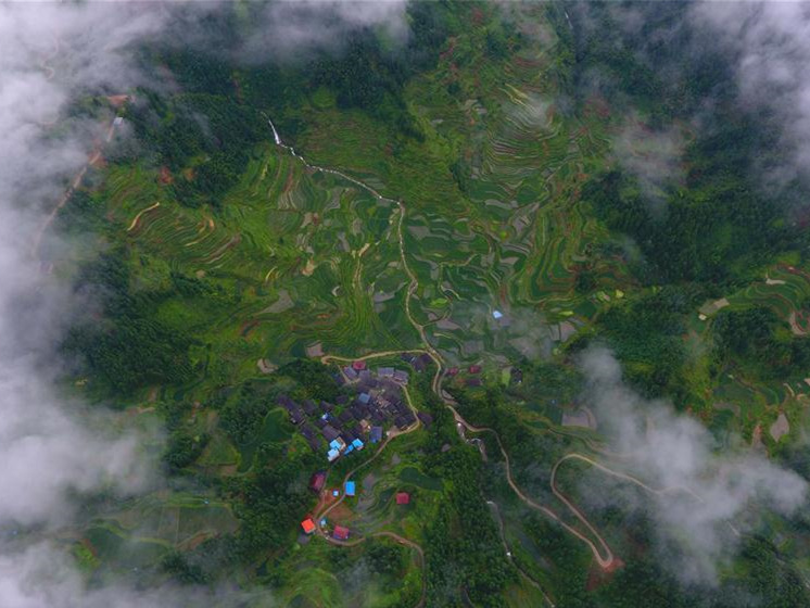 Aerial view of Miao villages in south China's Guangxi