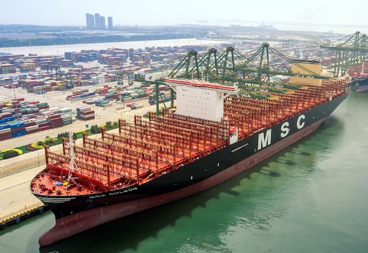 World's largest container ship sets sail from Tianjin